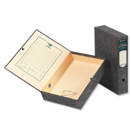 Rexel Classic Box File 70mm Spine Press Button Closure Foolscap Black/Green Cloud Ref 30115EAST [Pack 5]