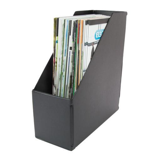 Magazine Rack File Plastic Jumbo 110mm A4 Black [Pack 5]