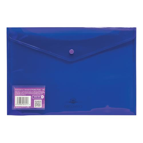 Concord Stud Wallet File Vibrant Polypropylene Foolscap Purple Ref 6131-PFL (PUR) [Pack 5]