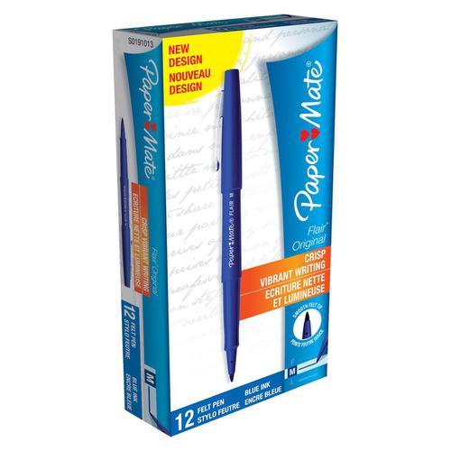 Paper Mate Flair Felt Tip Pens 1.0mm Tip 0.8mm Line Blue Ref S0191013 [Pack 12]