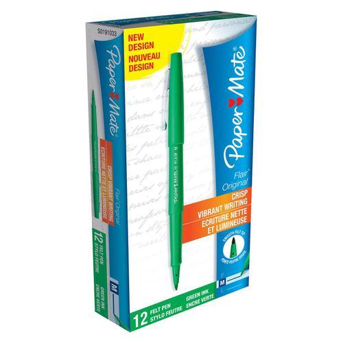 Paper Mate Flair Felt Tip Pens 1.0mm Tip 0.8mm Line Green Ref S0191033 [Pack 12]
