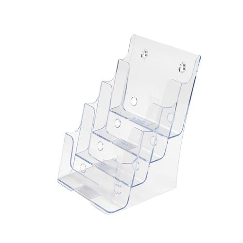 Literature Display Holder Multi Tier for Wall or Desktop 4 x A5 Pockets Clear