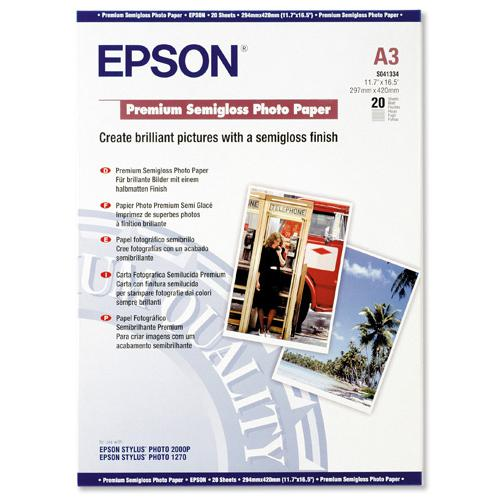 Epson Premium Photo Paper Semi-gloss 251gsm A3 Ref C13S041334 [20 Sheets]