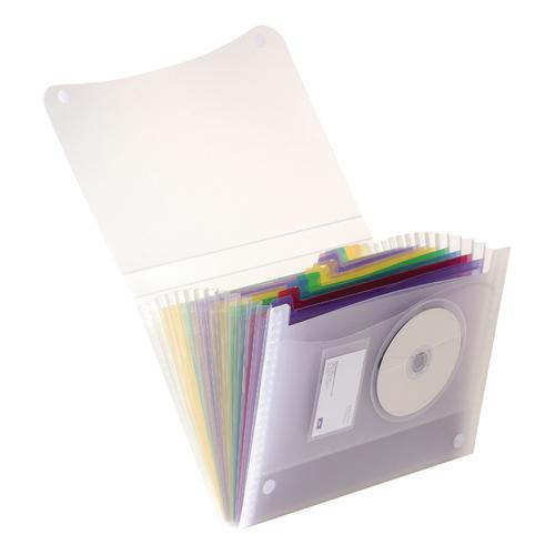 Oxford Expanding File Coloured 13 Pockets Polypropylene Velcro Fastening A4 Clr Ref 100208980
