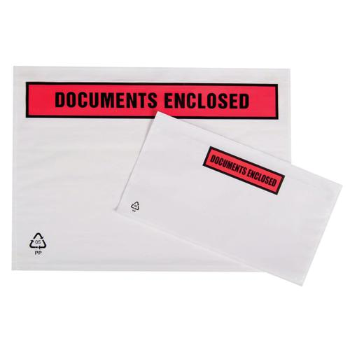 Packing List Document Wallet Polythene Documents Enclosed Printed Text A7 113x100mm White [Pack 1000]