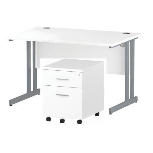Trexus Cantilever Desk 1200 & 2 Drawer Pedestal Wht Feb3/20
