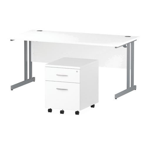 Trexus Cantilever Desk 1600 & 2 Drawer Pedestal Wht Feb3/20