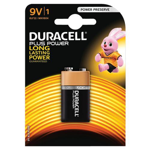 Duracell Plus Power MN1604 Battery Alkaline 9V Ref 81275454