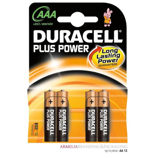Duracell Plus Power Battery Alkaline AAA Size 1.5V Ref 81275396 [Pack 4]