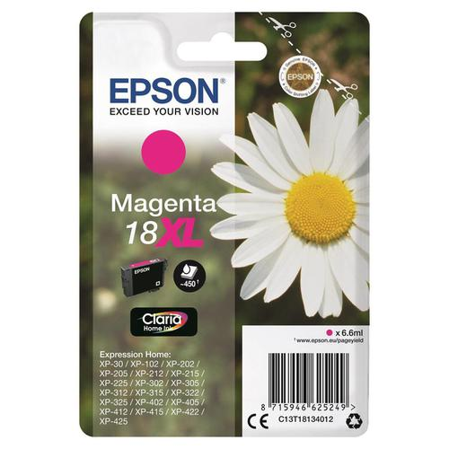 Epson 18XL Inkjet Cartridge Daisy High Yield Page Life 450pp 6.6ml Magenta Ref C13T18134012
