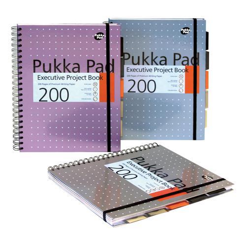 Pukka Pad Project Book Wirebound 200pp 80gsm A4+ Metallic Ref 6970-MET [Pack 3]