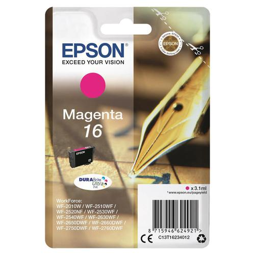 Epson 16 Inkjet Cartridge Pen & Crossword Page Life 165pp 3.3ml Magenta Ref C13T16234012