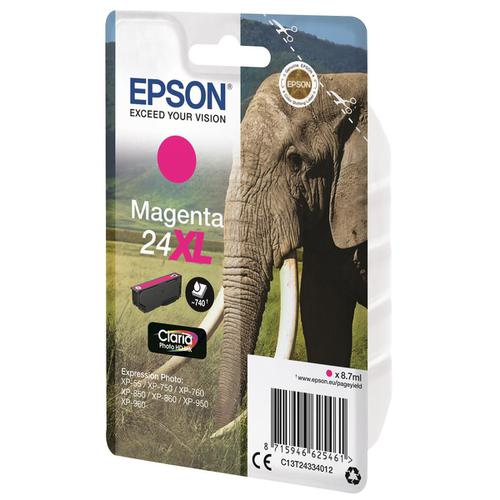 Epson 24XL Inkjet Cartridge Elephant High Yield Page Life 740pp 8.7ml Magenta Ref C13T24334012