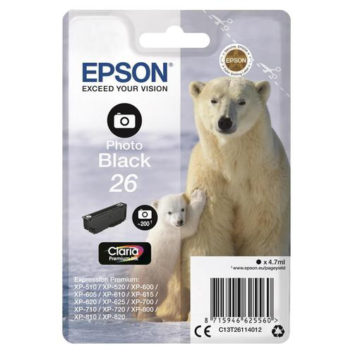 Epson 26 Inkjet Cartridge Polar Bear Page Life 200pp 4.7ml Photo Black Ref C13T26114012
