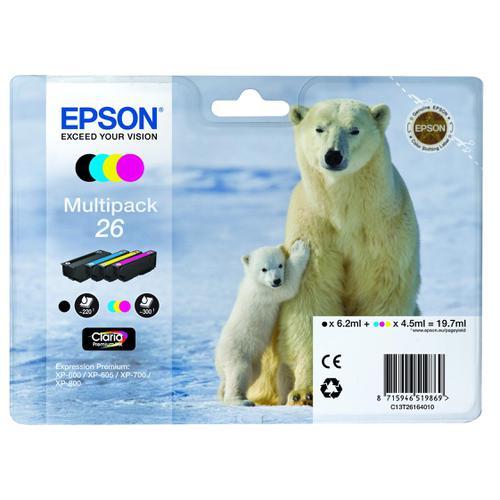 Epson 26 Inkjet Cartridge Polar Bear Black/Cyan/Magenta/Yellow 19.7ml Ref C13T26164010 [Pack 4]
