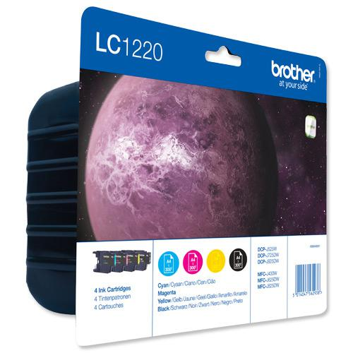 Brother Inkjet Cartridge Value Pack Page Life 300pp Black/Cyan/Magenta/Yellow Ref LC1220VALBP [Pack 4]