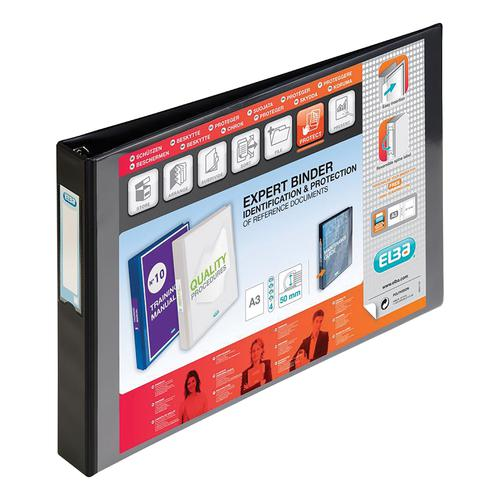 Elba Vision Ring Binder PVC Clear Front Pocket 4 D-Ring A3 Landscape 30mm Black Ref 100082459 [Pack 2]