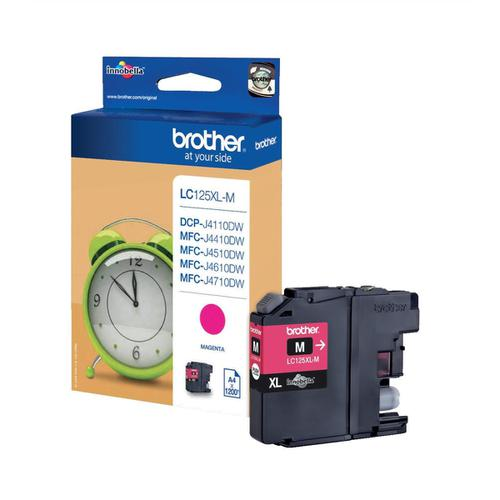 Brother Inkjet Cartridge High Yield Page Life 1200pp Magenta Ref LC125XLM