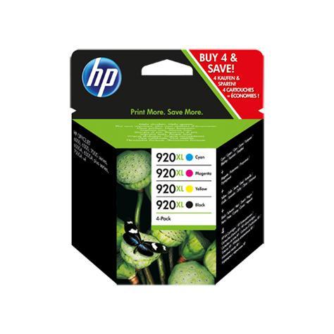 Hewlett Packard [HP] No.920XL IJCart HYBlk PageLife1200pp49ml/Cyan/Mag/Yel 700pp 6ml Ref C2N92AE [Pack 4]