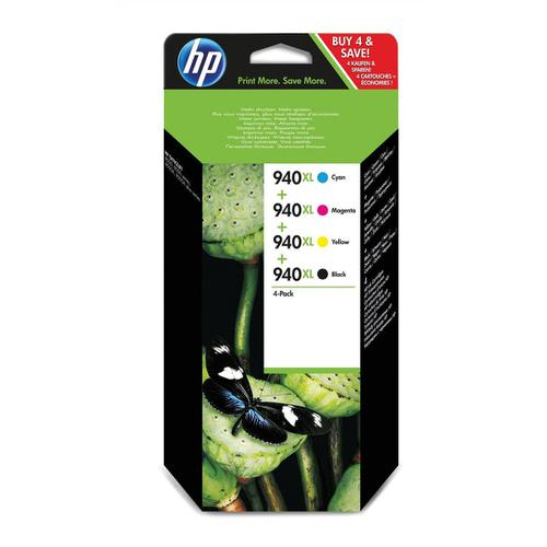 HewlettPackard [HP] No.940XL IJCart HY BlkPageLife2200pp/Cyan/Mag/Yel PageLife 1400pp RefC2N93AE [Pack 4]