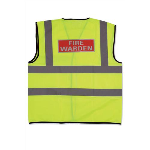 Fire Warden Vest High Visibility Yellow Vest Medium Ref WG30108