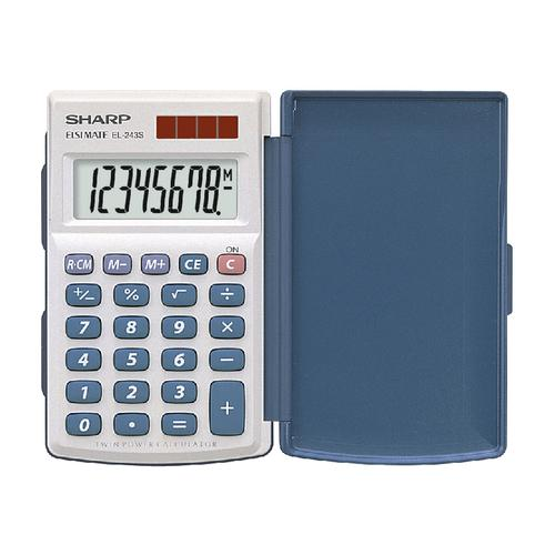 Sharp Handheld Calculator with Hard Cover 8 Digit 3 Key Memory Solar/Battery 64x11x105mm White Ref EL243S