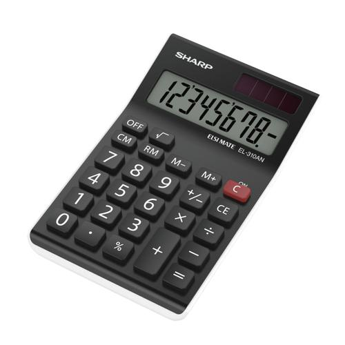 Sharp Desktop Calculator 8 Digit 4 Key Memory Battery/Solar Power 77x10x125mm Black Ref EL310ANWH