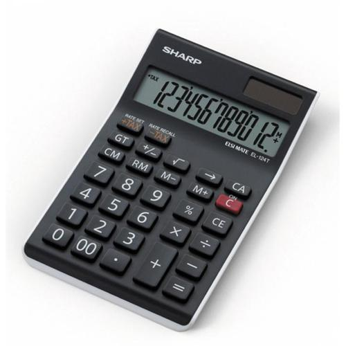 Sharp Desktop Calculator 12 Digit 4 Key Memory Battery/Solar Power 96x12x152mm Black Ref EL124TWH