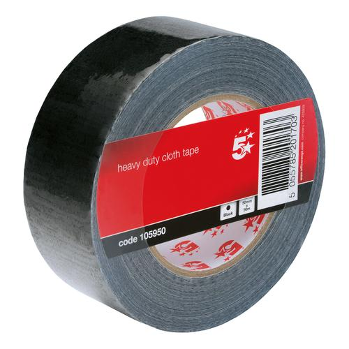 5 Star Office Cloth Tape Heavy-duty Waterproof Tearable Multisurface Roll 50mm x 50m Black by The OT Group, 105950