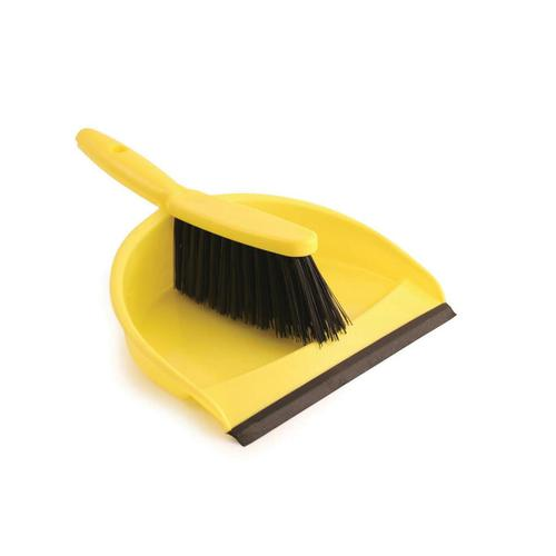Dustpan and Brush Set Soft Bristles Yellow [SET]