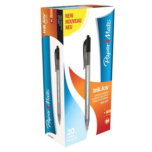 Paper Mate Inkjoy 100 Retractable Ballpoint Pen Medium 1.0mm Tip 0.7mm Line Black Ref S0957030 [Pack 20]