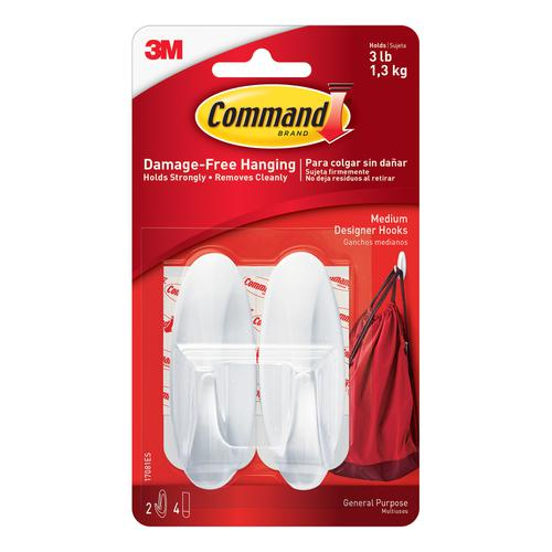 Command Oval Adhesive Hooks Medium Ref 17081 [Pack 2]