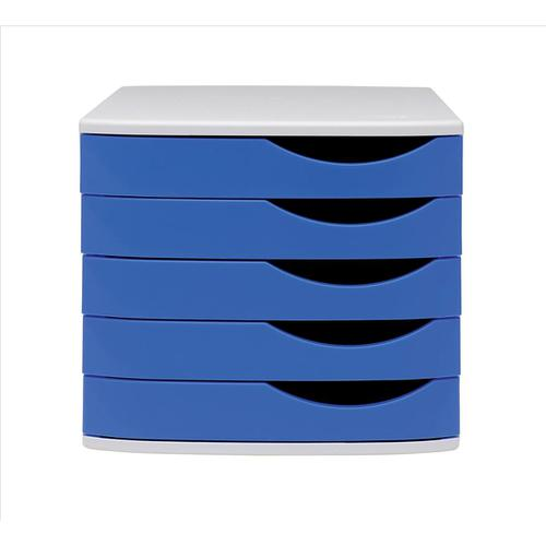 5 Star Elite Desktop Drawer Set 5 Drawers A4 & Documents up to 260x350mm Grey/Blue by The OT Group, 108392