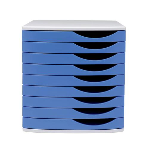 5 Star Elite Desktop Drawer Set 9 Drawers A4 & Documents up to 260x350mm Grey/Blue by The OT Group, 108397