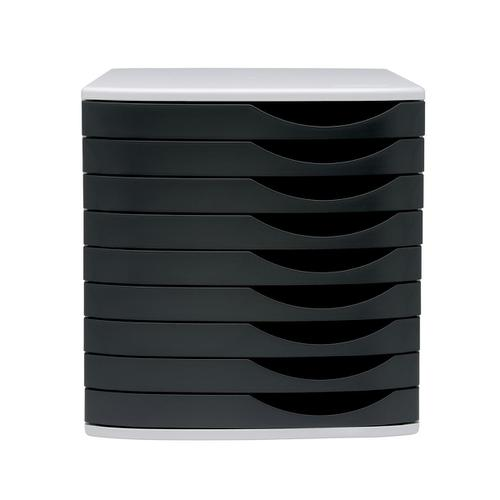 5 Star Elite Desktop Drawer Set 9 Drawers A4 & Documents up to 260x350mm Grey/Black by The OT Group, 108399