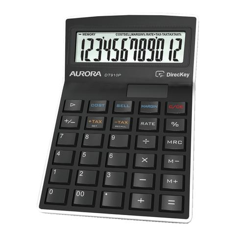 Aurora Semi-desk Calculator 12 Digit 3 Key Memory Battery/Solar Power 95x33x140mm Black Ref DT910PX