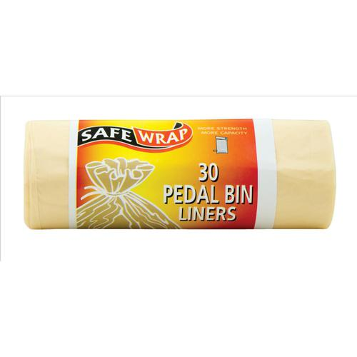 Safewrap Pedal Bin Liners 15Litre Capacity 30 Sacks per Roll 1066x457mm White Ref RY00432 [4 Rolls]