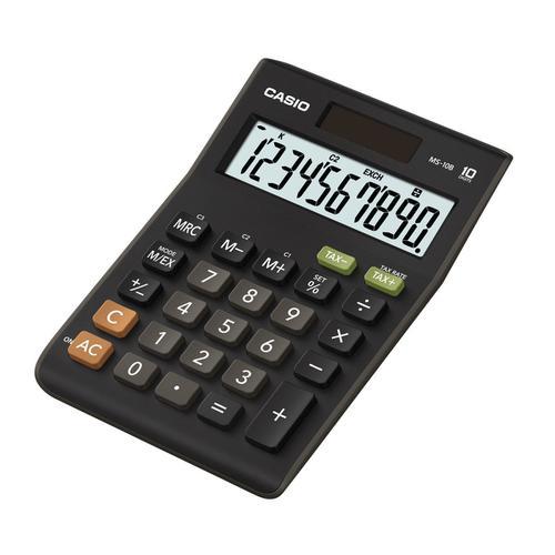 Casio Desktop Calculator 10 Digit 3 Key Memory Battery/Solar Power 103x29x147mm Black Ref MS-10B