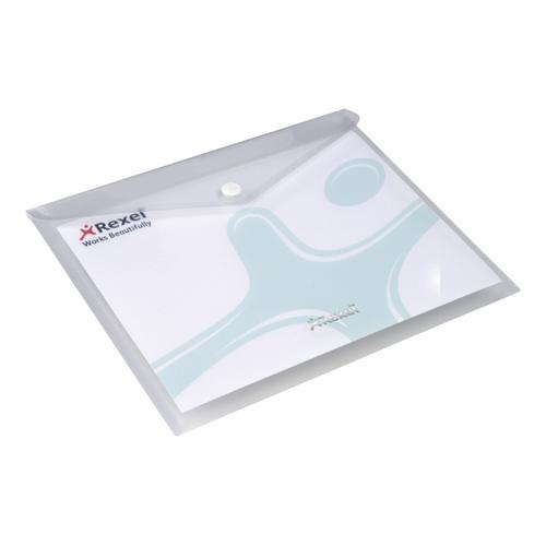 Rexel Popper Wallet Folder Polypropylene A3 Translucent White Ref 16131WH [Pack 5]