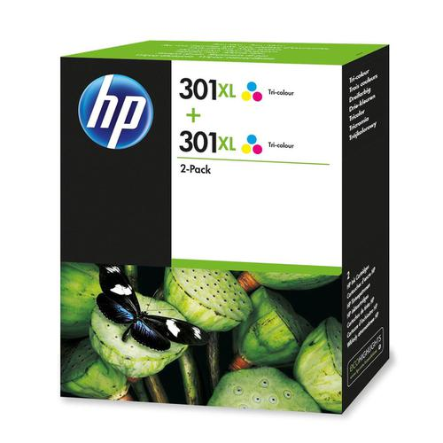 Hewlett Packard [HP] No.301XL IJ Cart High Yield Page Life 330pp 6ml Tri-Colour Ref D8J46AE [Pack 2]