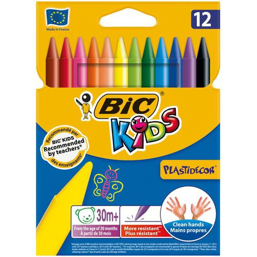 Bic Kids Plastidecor Crayons Long-lasting Sharpenable Wallet Vivid Assorted Colours Ref 920299 [Pack 12]