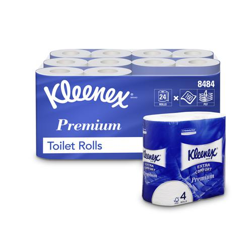 Kleenex Comfort Small Toilet Roll 160 Sheets per roll 4-ply White Ref 8484 [Pack 24]