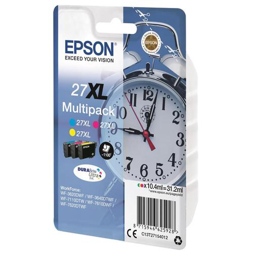 Epson 27XL Inkjet Cart Alarm Clock High Yield Page Life 1100pp 10.4ml C/M/Y Ref C13T27154012 [Pack 3]  123289