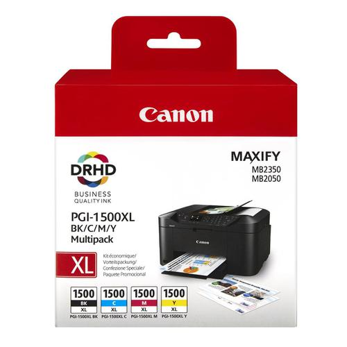 Canon PGI-1500XL Inkjet Cartridge High Yield Black/Cyan/Magenta/Yellow Ref 9182B004AA [Pack 4]