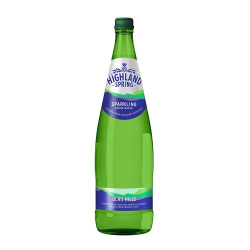 Highland Spring Sparkling Mineral Water Bottle Glass 1 Litre Ref 21103 [Pack 12]