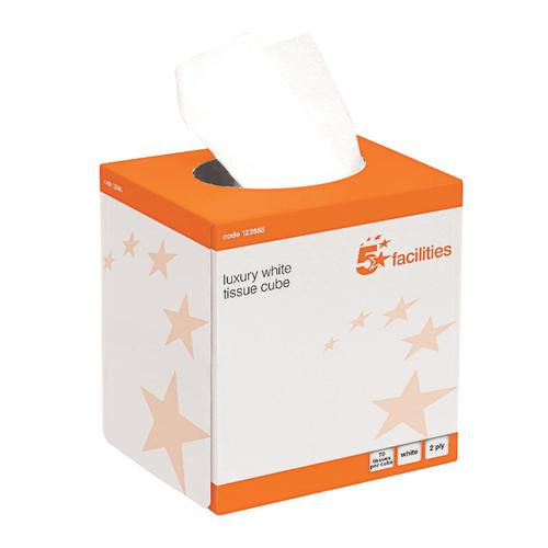 5 Star Facilities Luxury Facial Tissues Cube 2 Ply 70 Sheets White [Pack 24] by The OT Group, 123885