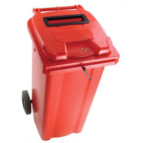 Wheeled Bin UV Stabilised Polyethylene with Rear Wheels Lid Lock 120 Litre Capacity 480x555x930mm Red