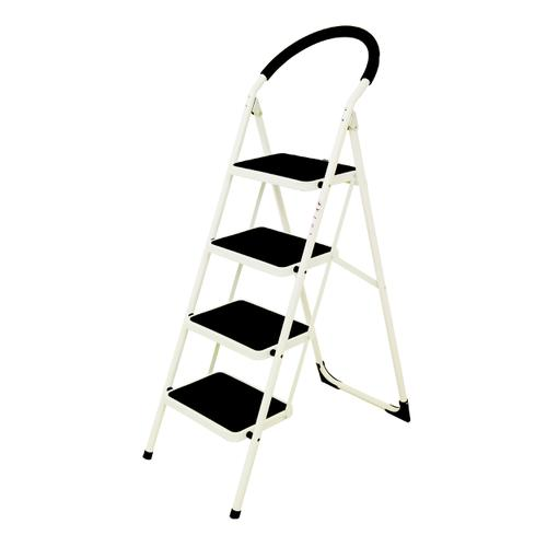 Folding Step Ladder 4 Tread Capacity 150kg White Frame