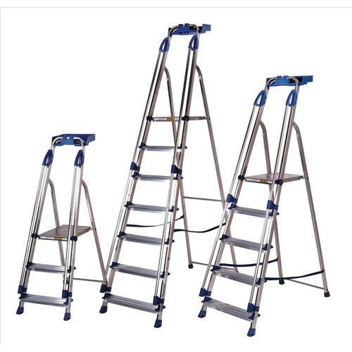 Tradesman Platform Step Ladder 6 Steps Capacity 150kg Silver/Blue