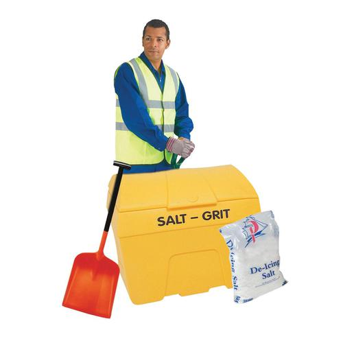 Winter Kit Salt Bin Starter Kit Yellow 200 Litre with Salt Bag White 2 x 25kg Shovel Gloves Hi-Vis Jacket